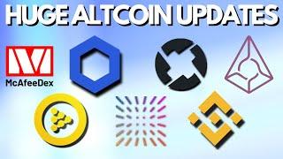 Huge Altcoin Updates   John McAfee Dex   Chainlink   iExec   0x Protocol   Augur   Binance   Insolar