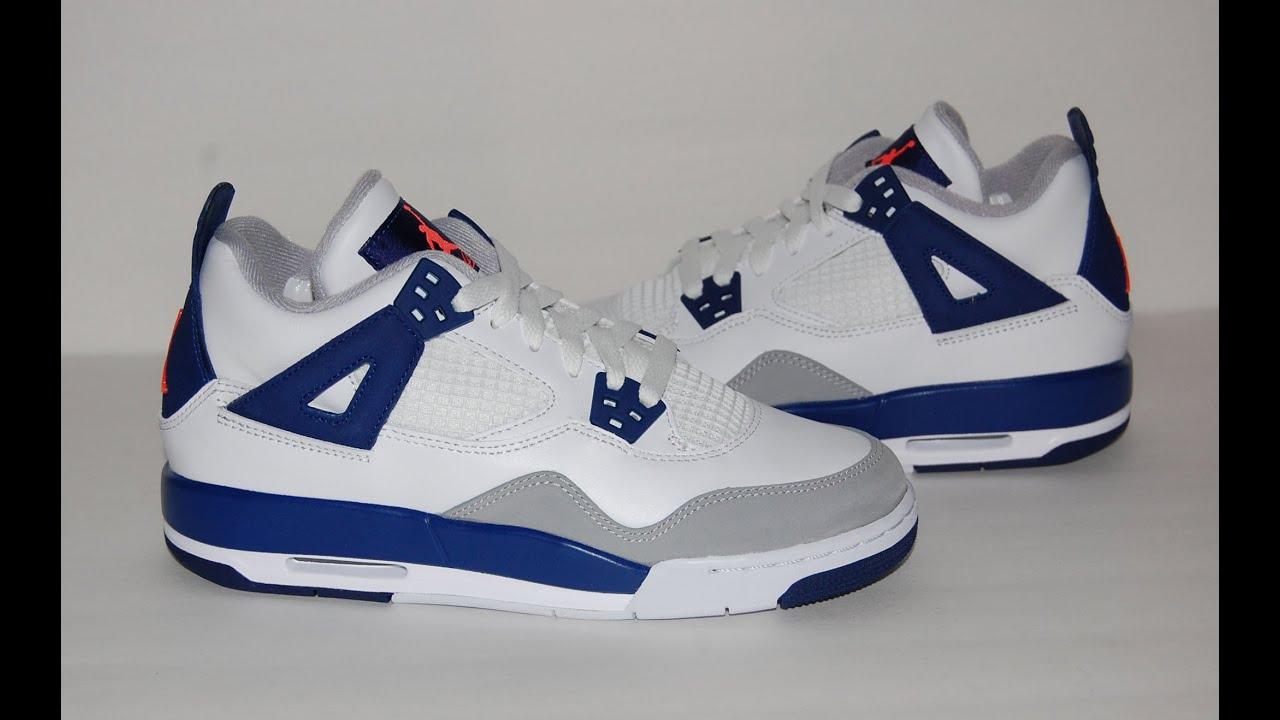 Kid's Nike Girls Air Jordan 4 VI Retro (GG) White Deep Royal Blue Grey Sneakers : I85b2669