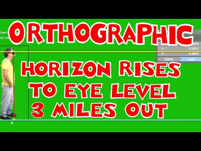HORIZON RISING TO EYE LEVEL AT 3 MILES ORTHOGRAPHIC VIEW IN BLENDER