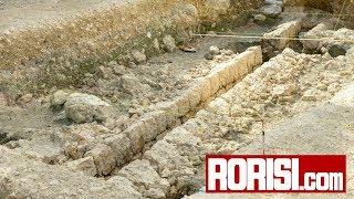 守礼門付近で真珠道の排水溝発掘