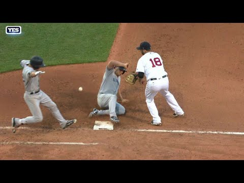 NYY@BOS: Umpires call for rules check on bizarre play