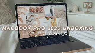 UNBOXING MY NEW MACBOOK PRO 2020 & SETUP | organization + customization tips, accessories