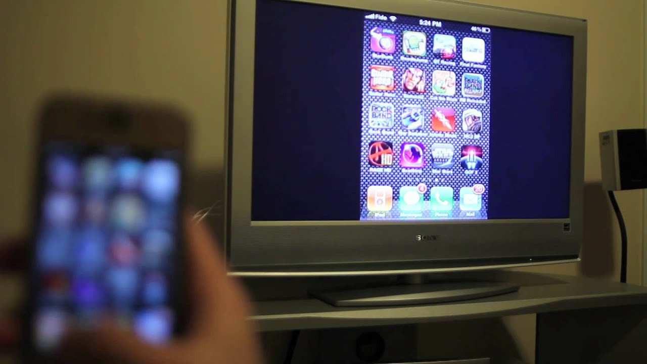 watch videos from iphone on tv iphone 4 with a 5 aftermarket tv out cable and on 19528