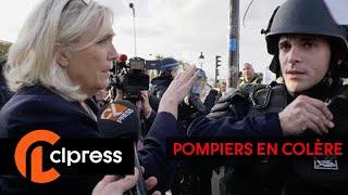 Manifestation des pompiers devant l'Assemblée Nationale / Marine Le Pen (15 octobre 2019, Paris)