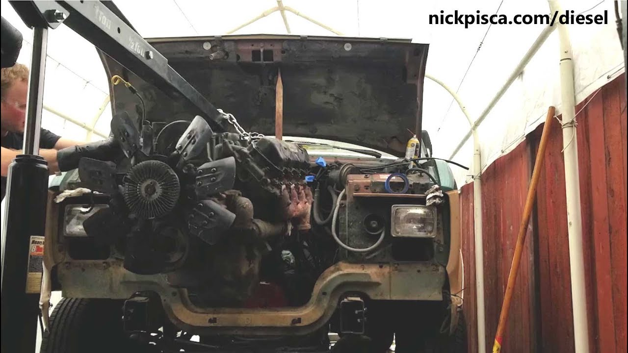 hight resolution of pulling a 6 9 or 7 3 idi engine from a 1988 ford e250 econoline van
