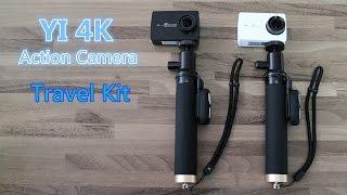 yi 4k action camera bluetooth selfie stick kit travel kit unboxing
