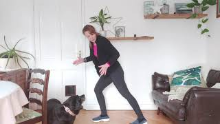 Standing lower limb stretch with 2 mucky pups!