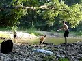 backflip frisbee catch into a creek
