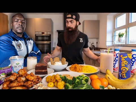 EATING THE STRONGEST FOOTBALL PLAYER IN THE WORLD'S DAILY DIET IN ONE SITTING   BeardMeatsFood