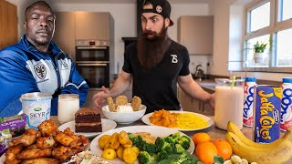 EATING THE STRONGEST FOOTBALL PLAYER IN THE WORLD'S DAILY DIET IN ONE SITTING | BeardMeatsFood