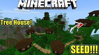 SEED RUMAH POHON VILLAGER!! | TOP SEED! | Minecraft PE | Pocket Edition | Mcpe | Indonesia!