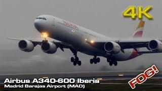 Airbus A340-600 Iberia [4K] Fog Takeoff (Madrid)