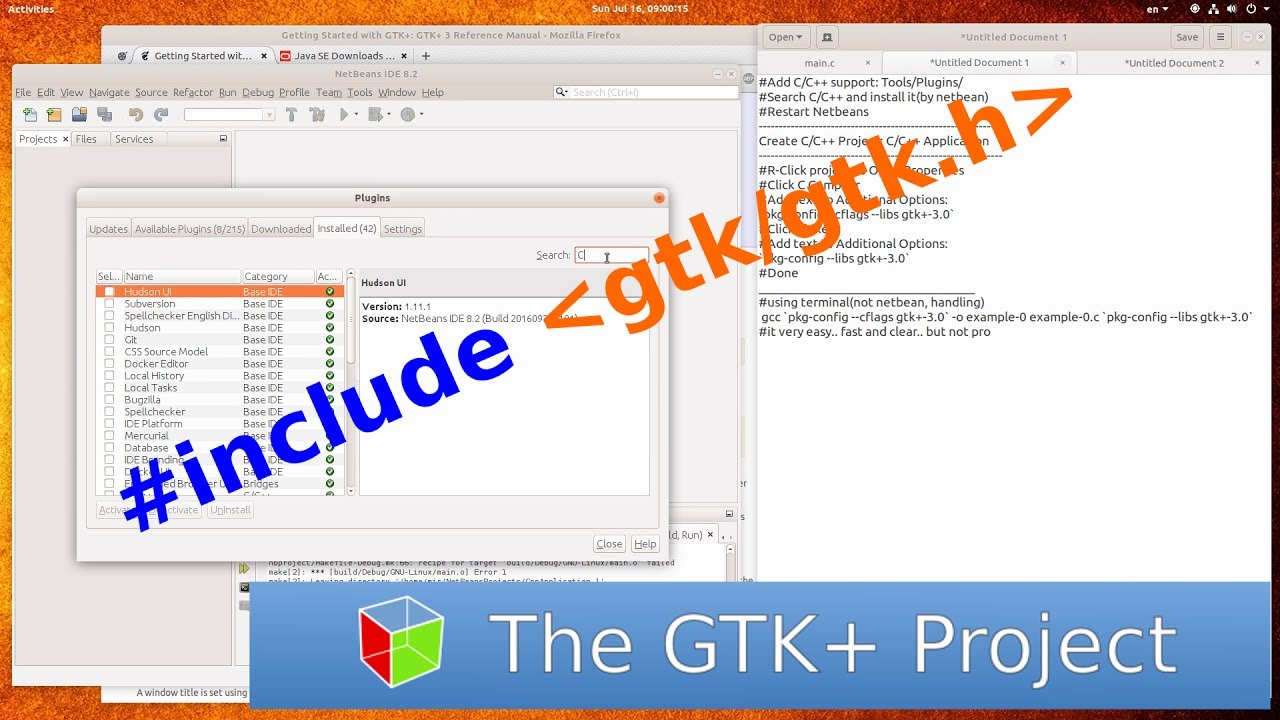 [C GUI GTK+3][GTK+4] Netbeans IDE: Add C/C++   Add gtk/gtk h   GCC Linux