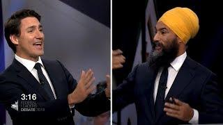 Leaders' Debate: Singh refers to Trudeau, Scheer as