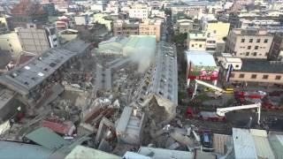 台南市永康區, 永大路上維冠金龍大樓倒蹋空拍現場怵目驚心