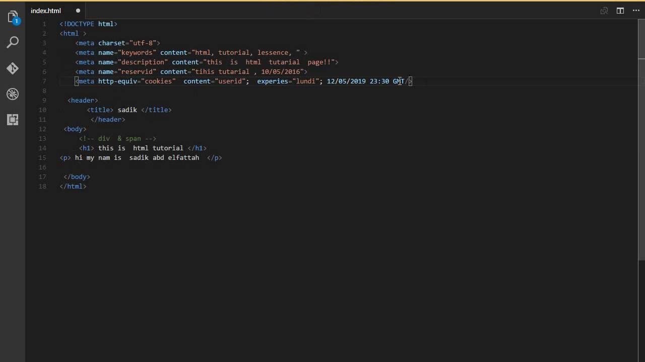 الدرس الرابع الميتا والتعليقات في (html)