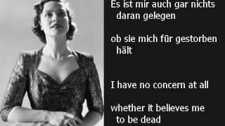 """Kathleen Ferrier - """"Ich bin der Welt abhanden gekommen"""" (Mahler: Rückert-Lieder) - with lyrics"""