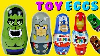 Kinder The Avengers Nesting Surprise Eggs Superhero Marvel Stacking Cups Hulk Ironman Thor Nick Fury