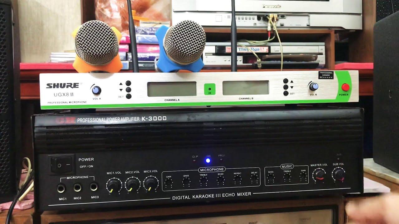 Combo Mic 🎤 Ko dây 1 bộ Shure UGX8ll Ampli hát 🎶 thích hợp liền vàng K 3000 công suất 1000 wast