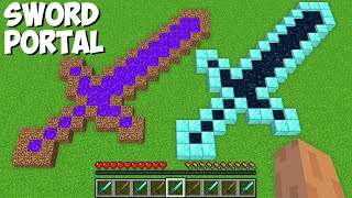Which SWORD PORTAL IS BETTER in Minecraft ? DIRT SWORD PORTAL VS DIAMOND SWORD PORTAL !