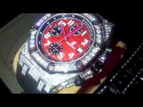 Custom Red Face Diamond Ap Audemars Piguet Watch Rubber