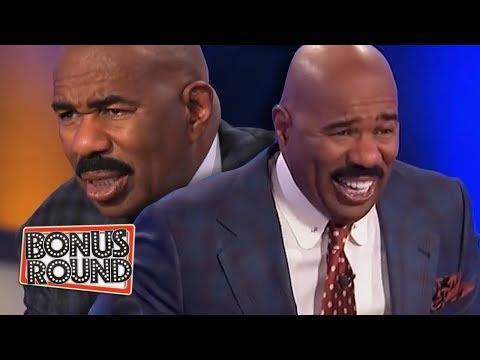 10 FAMILY FEUD PODIUM ANSWERS & MOMENTS Steve Harvey Got Confused Or Laughed Over!