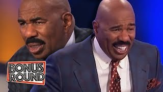 10 FAMILY FEUD PODIUM ANSWERS \u0026 MOMENTS Steve Harvey Got Confused Or Laughed Over!