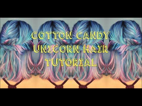 COTTON CANDY UNICORN HAIR TUTORIAL - YouTube