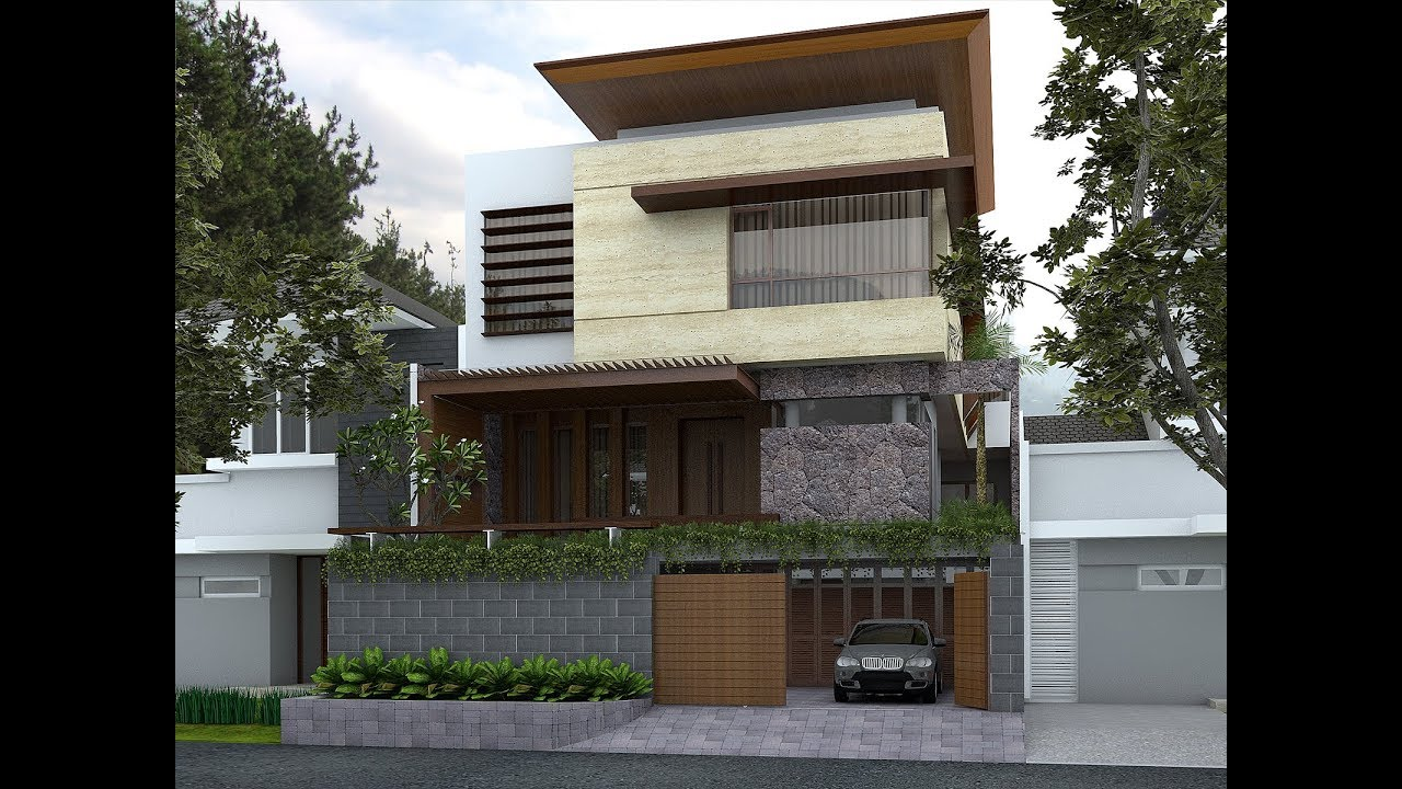 Sketchup House Facade Design 2 + Vray 3.4 - YouTube