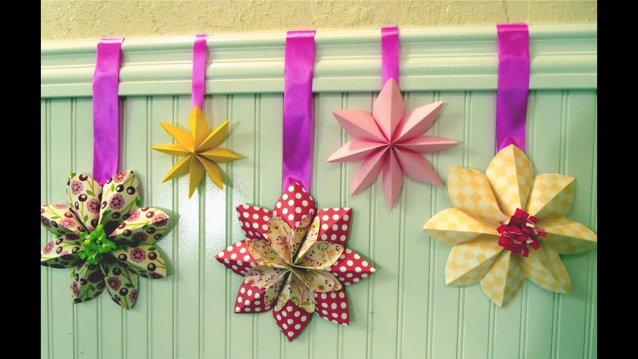 How to fold a flower decoration floral party decor origami youtube for Decoration image