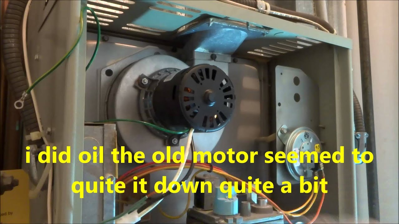 Gas furnace exast fan motor assembley replaced youtube for Furnace blower motor noise