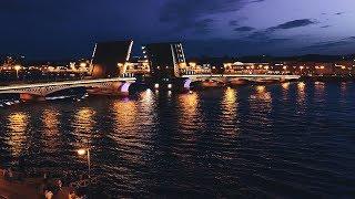 Ночной Питер. Развод мостов. Благовещенский мост. TimeLapse Stock Footage
