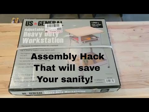 Adjustable Height Heavy Duty Workstation US GENERAL Harbor Freight Assembly Hack