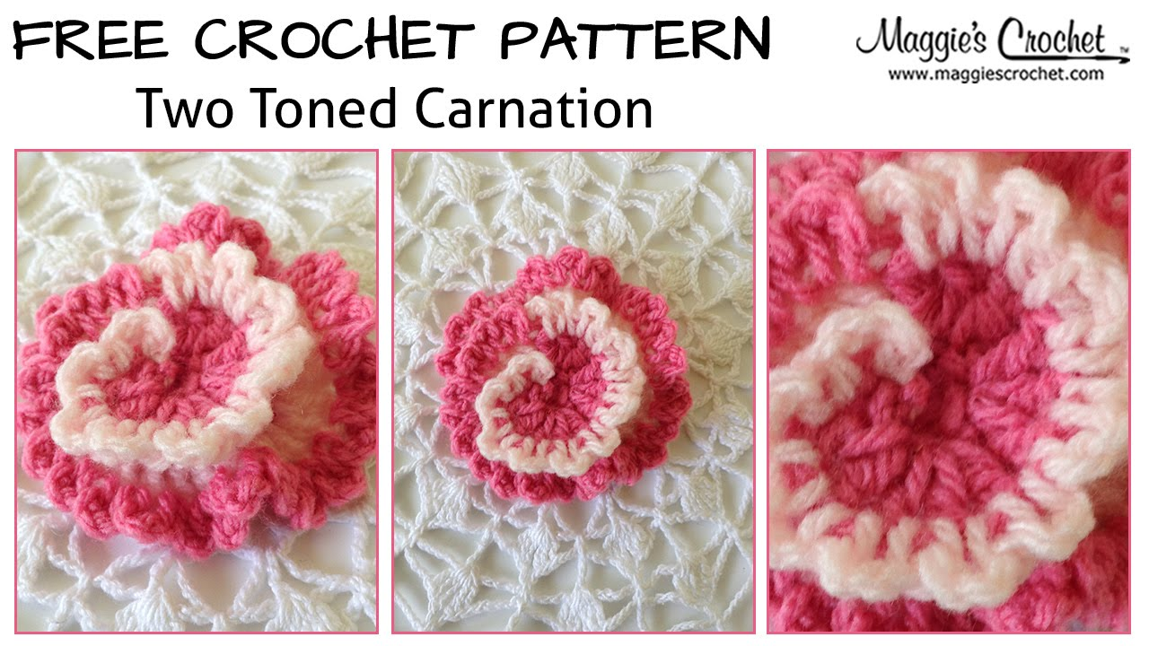 Two-Tone Carnation Free Crochet Pattern - Right Handed - YouTube
