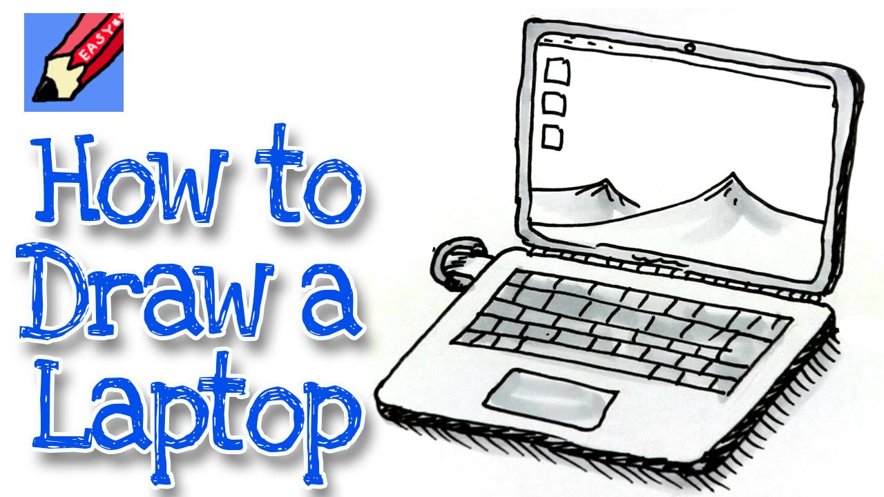 How to draw a Laptop Computer Real Easy - YouTube