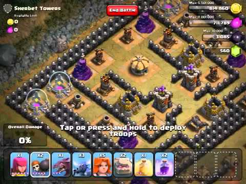 Clash Of Clans - Sherbet Towers With Golems!!