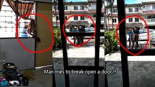Man tries to break open a door. Lady tenant asks him to leave but he just kept smiling