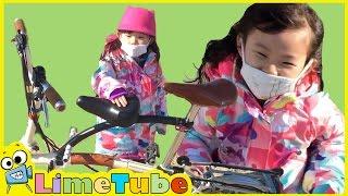 라임이의 센트럴파크 공원에서 브롬톤 자전거 타기! ❤︎삼둥이 뽀로로 장난감 놀이 LimeTube & Toy 라임튜브