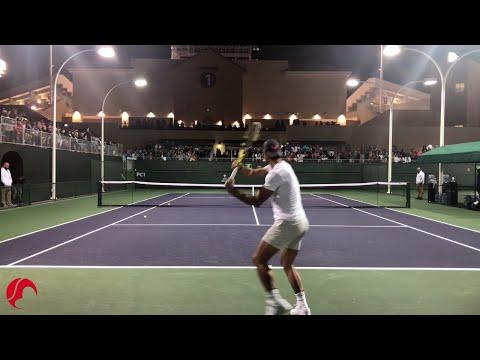 Nadal Intense Training Indian Wells 2019 Tennis - Court Level View