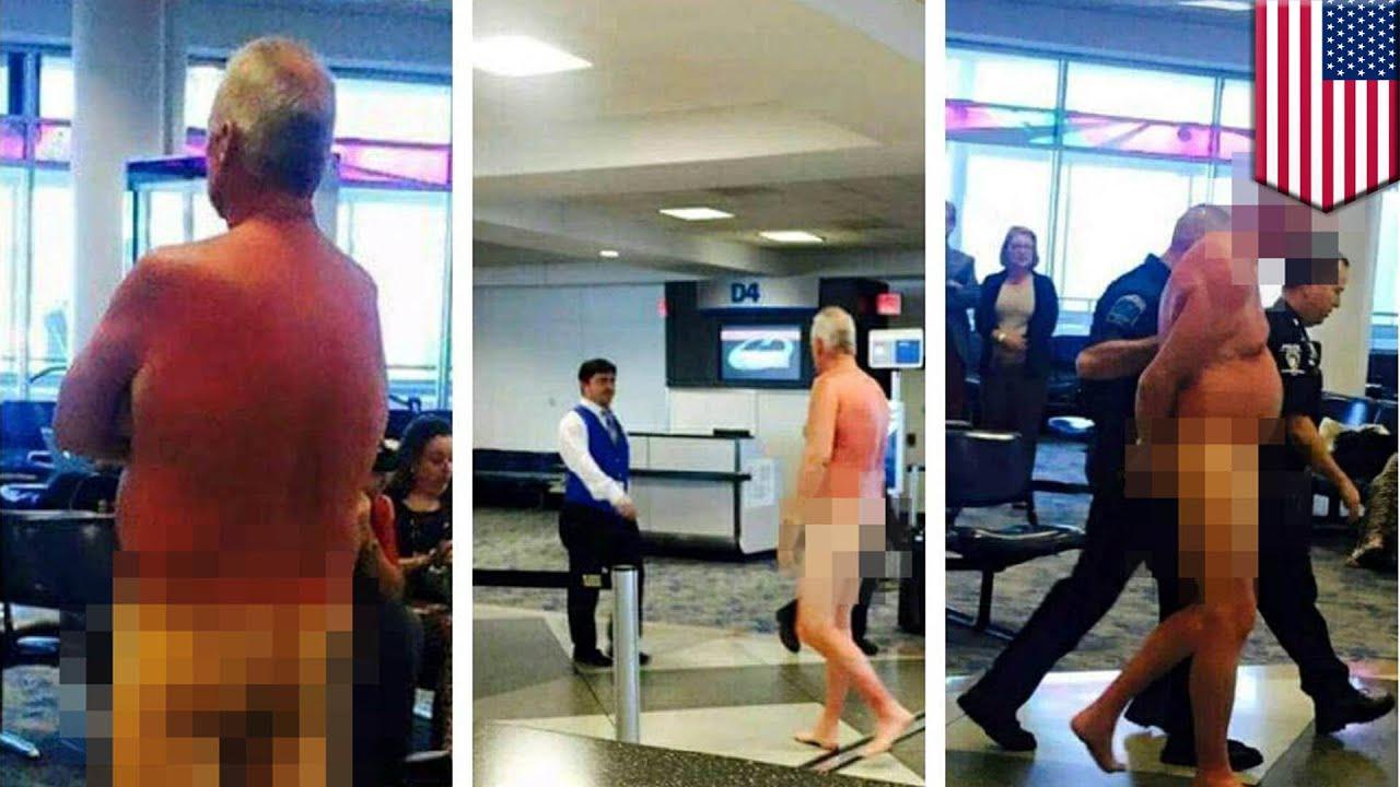 Naked woman caught on photo walking around miami airport