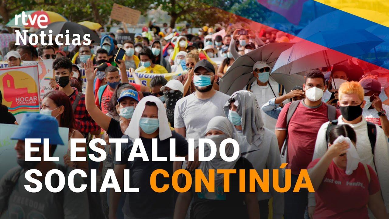 """Al menos 27 muertos en COLOMBIA """"en el marco de las PROTESTAS"""" I RTVE Noticias"""
