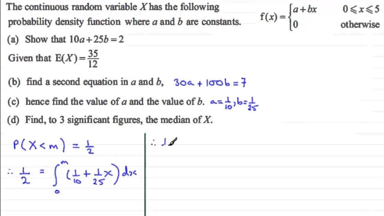 Finding the Median in a pdf : S2 Edexcel January 2013 Q7(d) : ExamSolutions  Statistics Revision