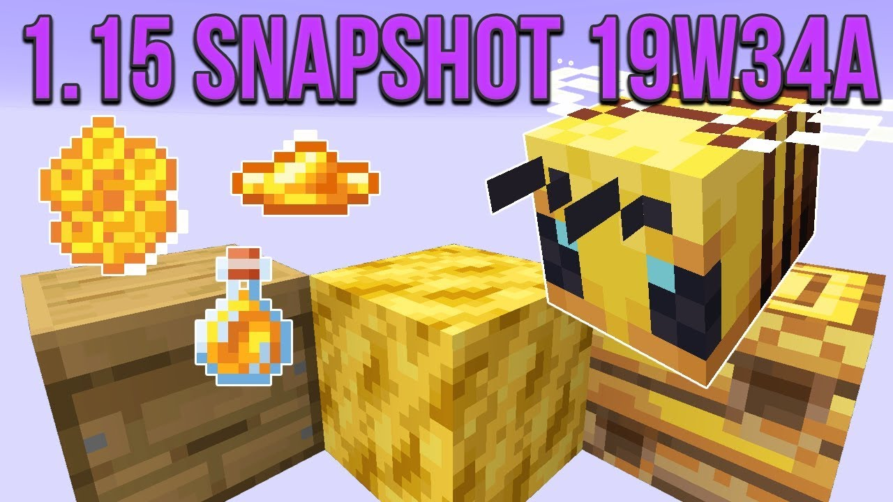 Minecraft 1.15 Snapshot 19w34a Bees In Minecraft! Bee Nest, Hive, Honeycomb & Honey! thumbnail