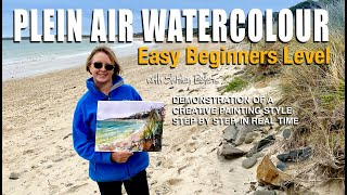 Plein Air Watercolour: Easy Beginners Level: Creative Painting Style: Step by Step in Real Time.