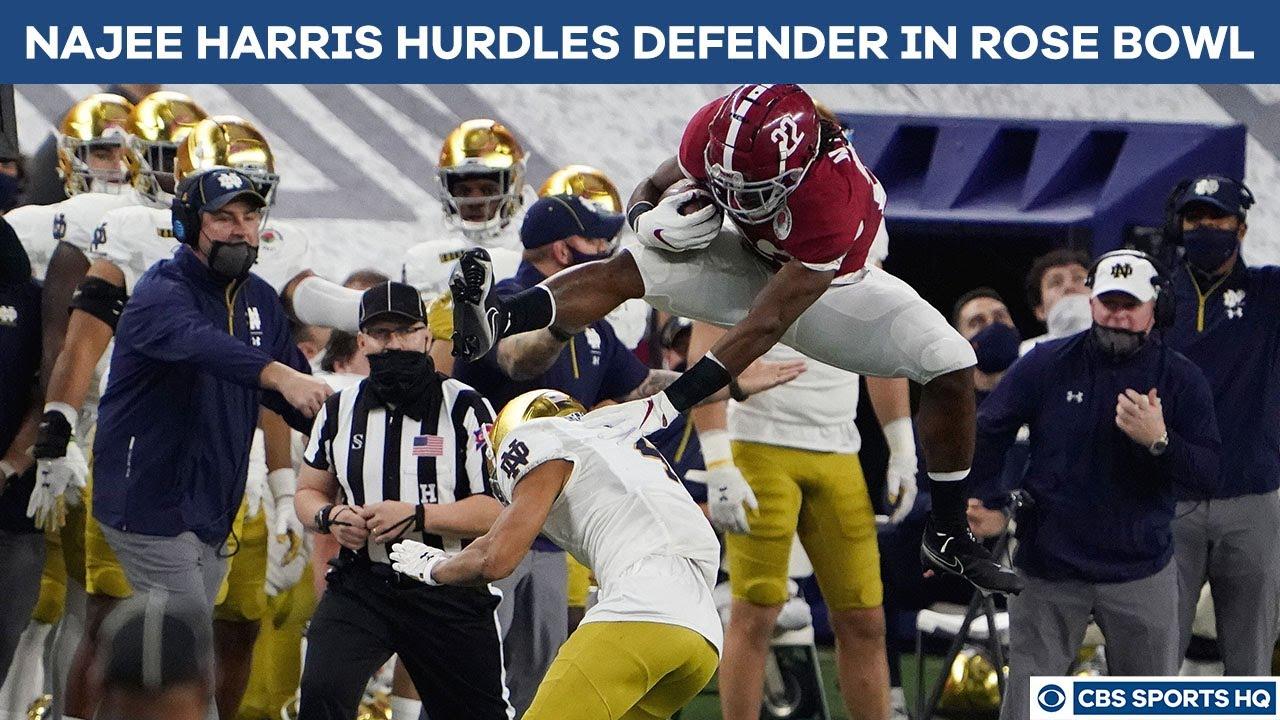 Najee Harris hurdles over Notre Dame defender in Rose Bowl after ...