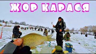 ОТОРВАЛИСЬ ПО КАРАСЮ! Куча народа на льду! Зимняя рыбалка с Михалычем!