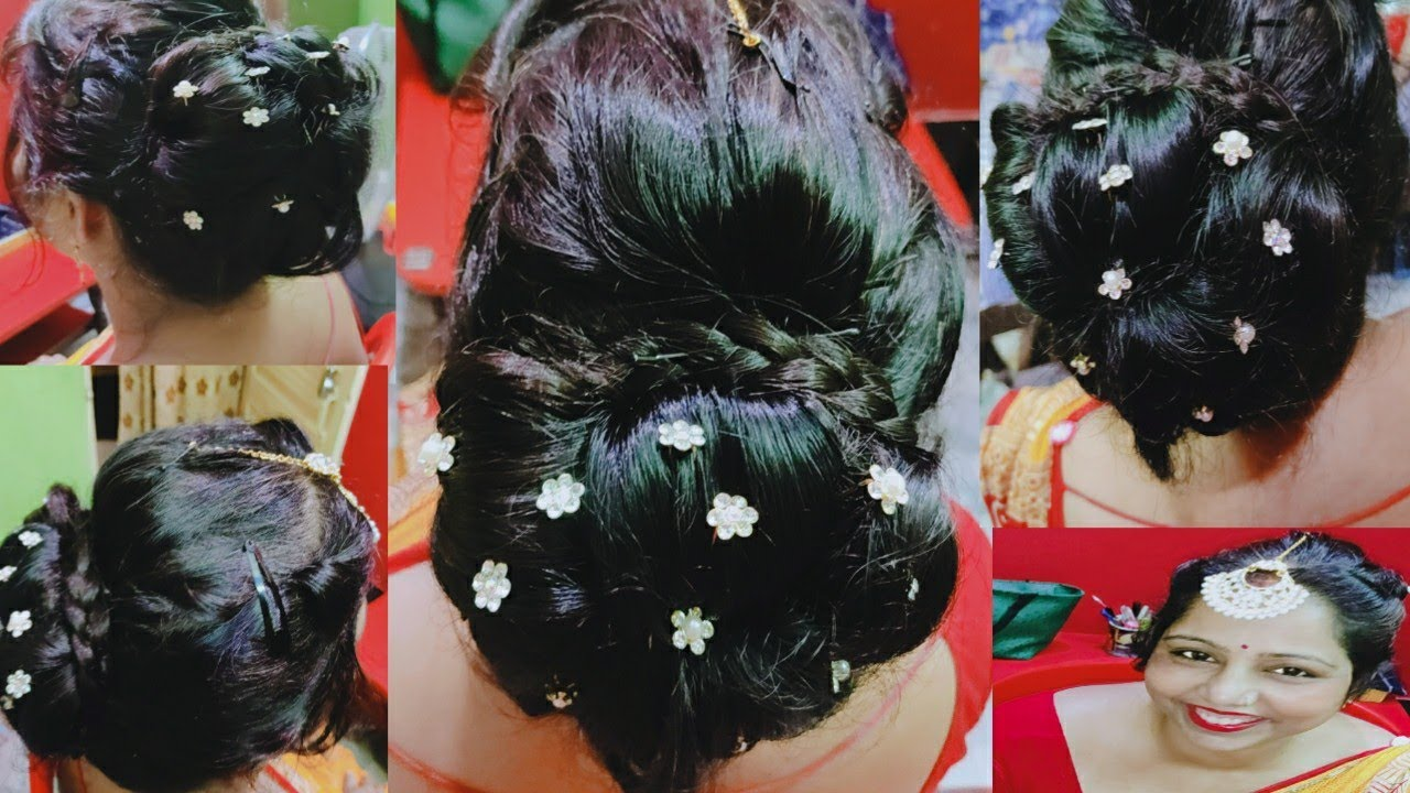 party and wedding JUDA hairstyle  easy juda step by step Easy Bridal BUN hairstyle Tutorial ...