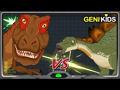 Dinosaurs Battle #1 ALLOSAURUS Vs STEGOSAURUS | Dinosaurs Figthting for Kids ★Genikids Dinosaur
