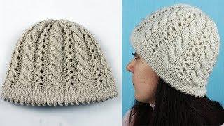 Шапка от ободка.  Вязание шапки с косами