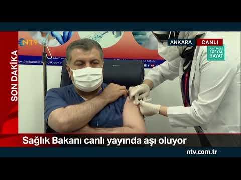 NTV | Sağlık Bakanı Koca, canlı yayında aşı oldu